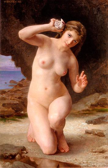 Girl with Seashell, Bouguereau (16X25)