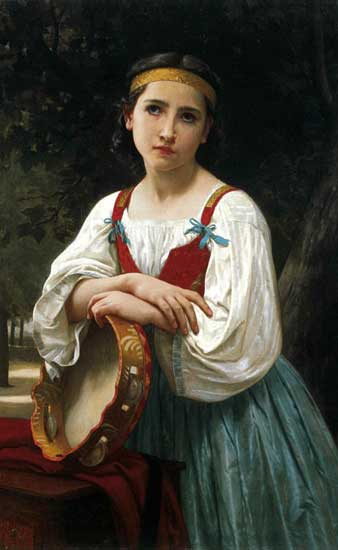 Gypsy Girl with Basque Drum, Bouguereau (16x26)