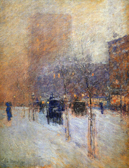 Winter Evening,New York Sun, Childe Hassam (17X22)