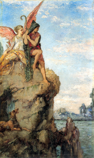 Hesiod and the Muse, Moreau (16.6X28)