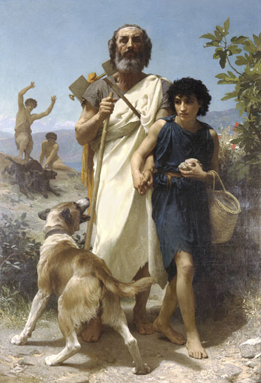 Homer and his Guide, Bouguereau (16X23.5)