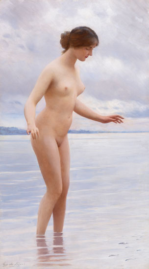In the Water, Eugen von Blaas (17.6X32)
