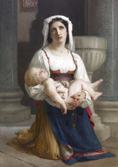 Italian Peasant Kneeling with Child, William Bouguereau
