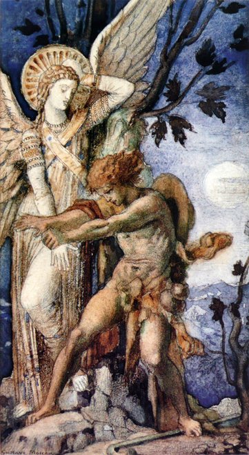 Jacob and the Angel, Gustave Moreau (16.4X30)