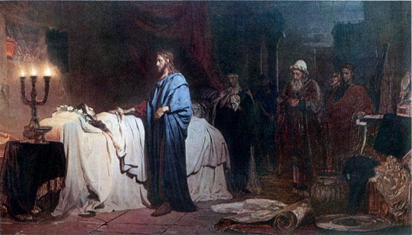 Jesus Raising Jairus's Daughter, Repin (16X28)