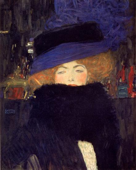 Lady with a Hat, Gustav Klimt (17.7X22)