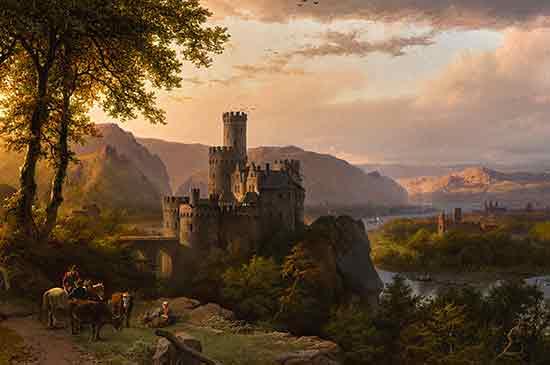 Landscape with Castle, Barend Cornelis Koekkoek