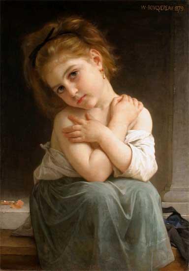 La Frileuse (Chilly Girl), Bouguereau (16X24)