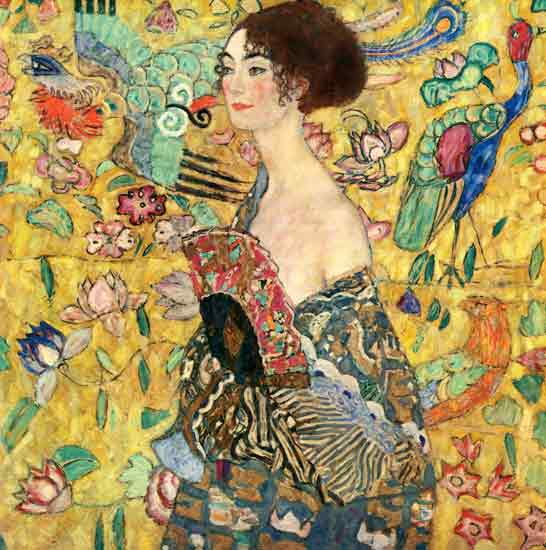 Lady with a Fan, Gustav Klimt (30X30.25)