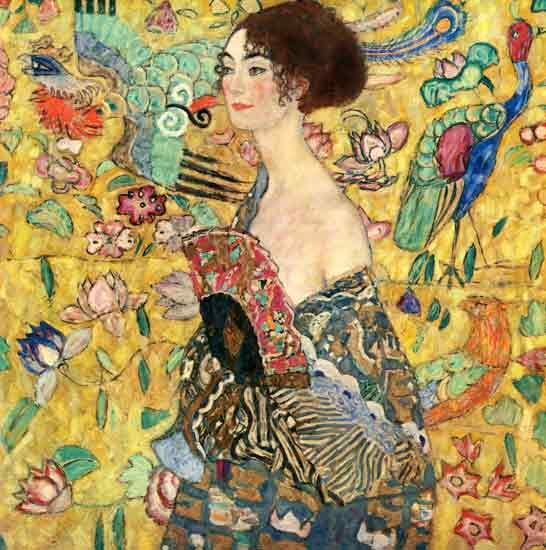 Lady with a Fan, Gustav Klimt (30X30.25)