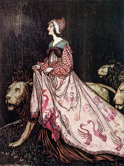 The Lady and the Lion,  Arthur Rackham