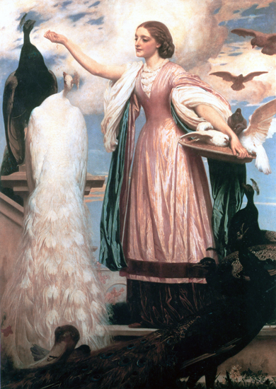 A Girl Feeding Peacocks, Fredrick Leighton (22X31)