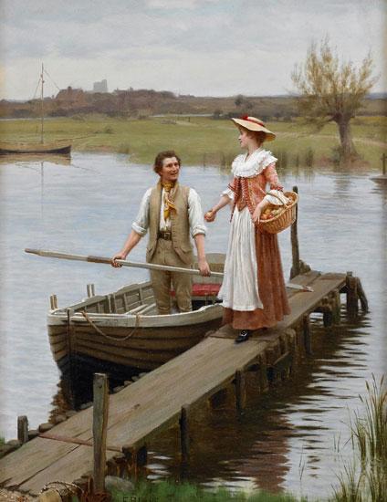 An Apple for the Boatman, Edmund Blair Leighton (17X22)