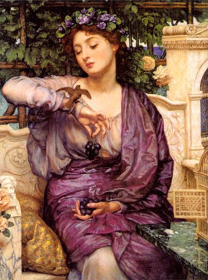 Lesbia and her Sparrow, Sir Edward John Poynter (16.3X22)