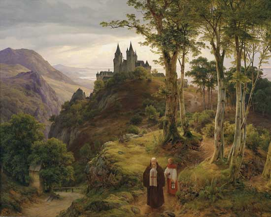 Landscape with Monastery, Carl Friedrich Lessing