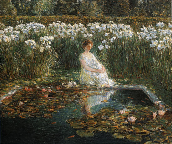 Lilies, Childe Hassam, (24X28.75)