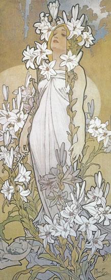 Lilies, Alphonse Mucha