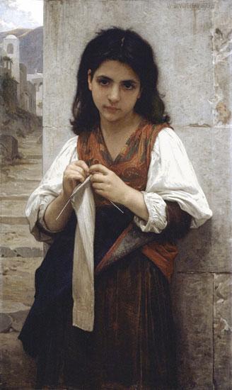 The Little Knitter,1879,Bouguereau (16X26)
