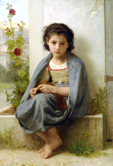 The Little Knitter, Bouguereau (16X23.5)
