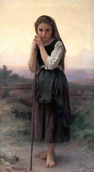 The Little Shepherdess, William-Adolphe Bouguereau (16X29)