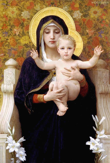Madonna of the Lilies, William-Adolphe Bouguereau (16X23.5)