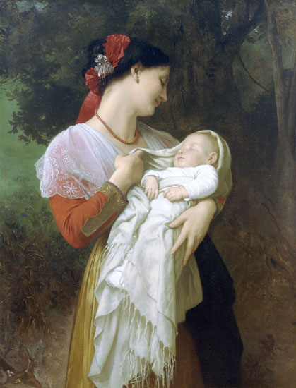 Maternal Admiration, Bouguereau (16X21)