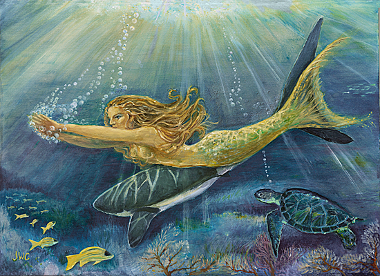 Mermaid, Shark, and  Sea Turtle, Joyce Gibson