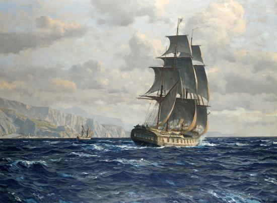 A Frigate off the Coast, Diemer (22x30)