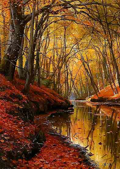 Creek Bank in Fall, Peder Mork Monsted