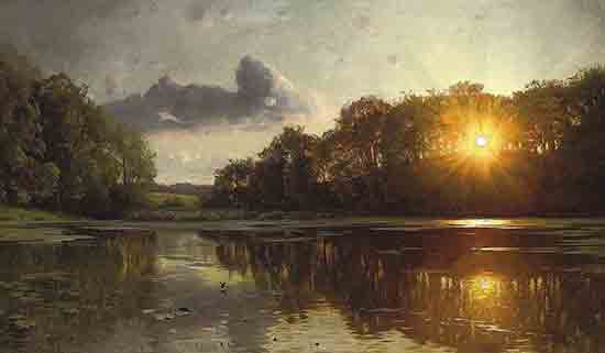 Sunset over a Forest Lake, Peder Mork Monsted