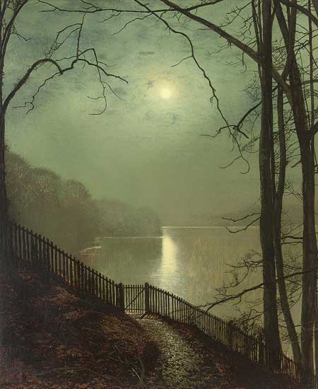 Moonlight on the Lake Roundhay, Leeds, Grimshaw (18x22)