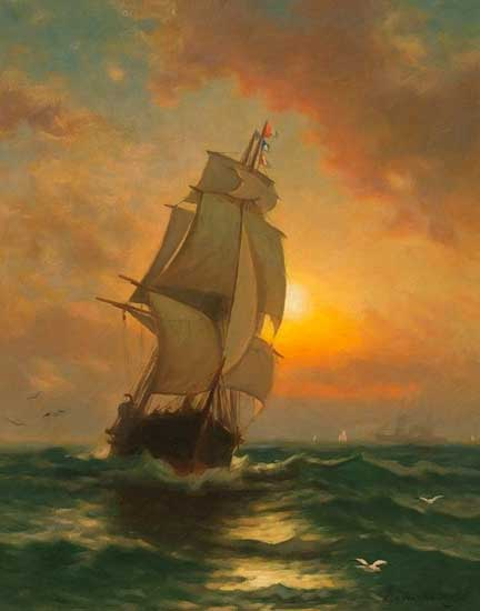 Full Sail at Sunset, Moran