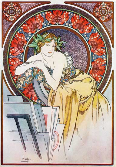 Girl with Easel, Alphonse Mucha