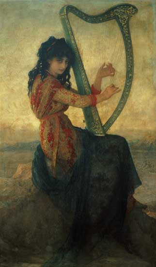 Muse Playing the Harp, Ernest Hebert