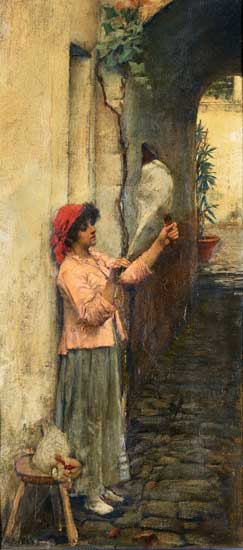 Neopolitan Flax Spinner, John William Waterhouse