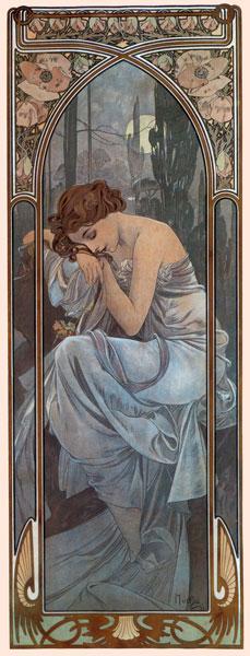 Nocturnal Slumber, Alphonse Mucha (13X34)
