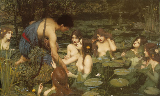 Hylas & the Nymphs, Waterhouse (16X26)
