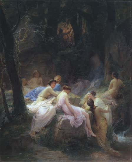 Nymphs Listening to the Songs of Orpheus, Jalabert (22X27)