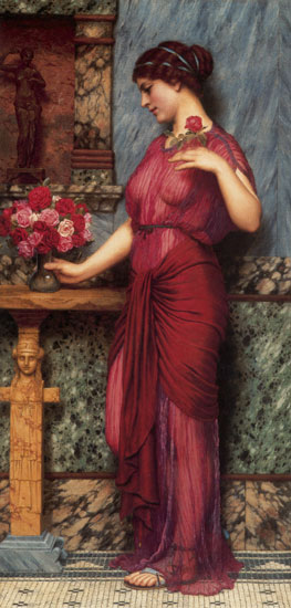 An Offering to Venus, John William Godward (16X33.4)