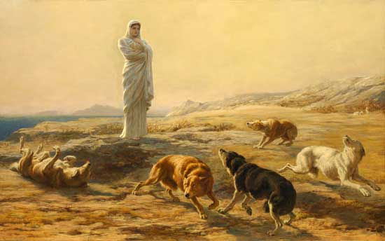 Pallas Athena and the Herdsman's Dogs, Briton Riviere (20X32)