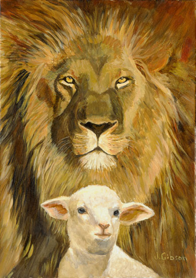 Peace, Lion and Lamb, Joyce Gibson (15.5X22)