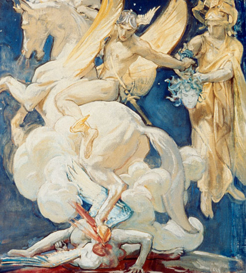 Perseus on Pegasus Slaying Medusa,John Singer Sargent  (21X24)