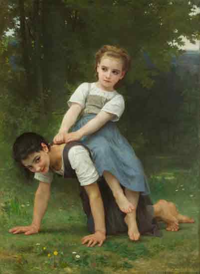 The Pony Back Ride, William-Adolphe Bouguereau (16X22)