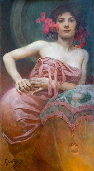 Portrait of a Lady, Alphonse Mucha (16X29)