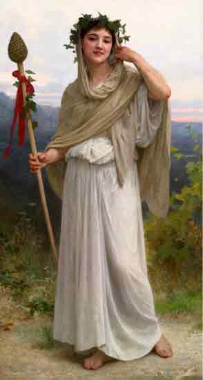 Priestess of Bacchante, Bouguereau (16X30)