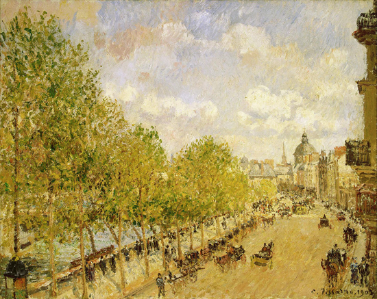 Quai Malaquais in the Sunshine, Camille Pissarro (17.5X22)