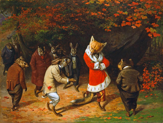 Rabbits at Play, William Holbrook Beard (12x16)