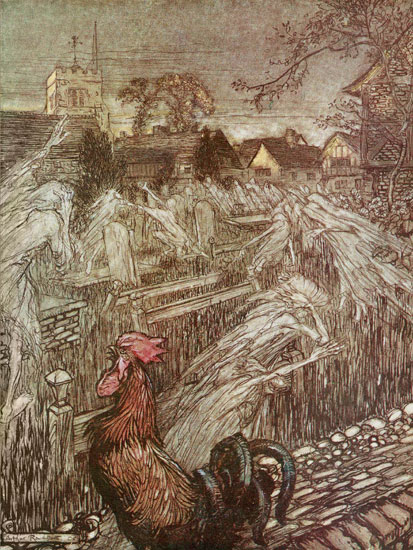 Ghosts Returning to the Graveyard, Arthur Rackham (16X20)