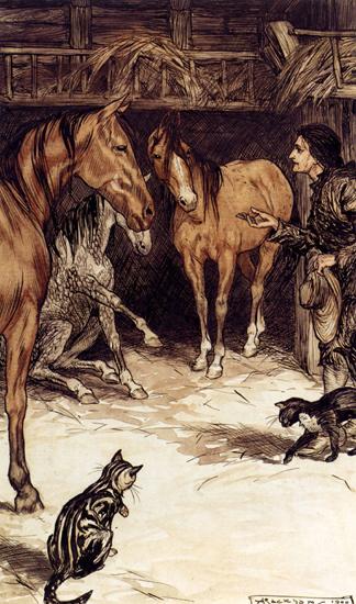 Gulliver Visiting the Houyhnhnms, Arthur Rackham, 14.4X16