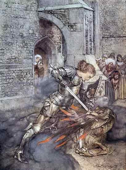 Sir Lancelot Slaying the Dragon, Rackham (12X16)